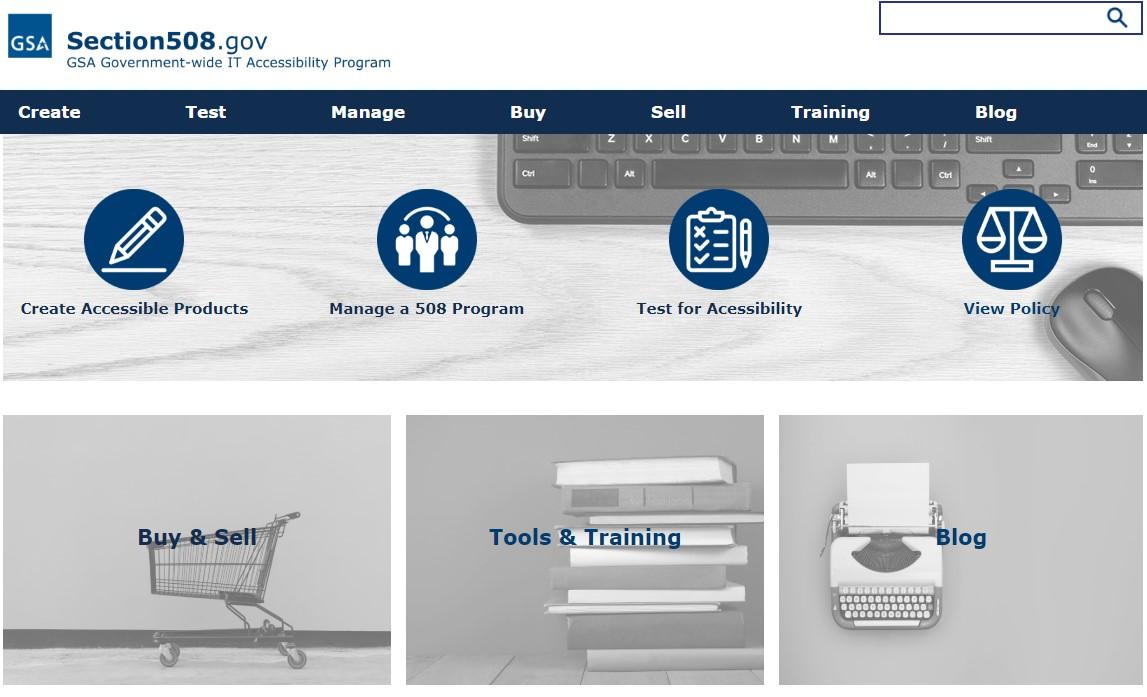 Screenshot of Section508.gov homepage
