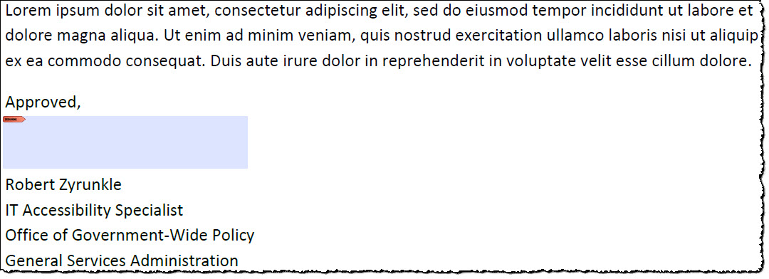 Positioned above the signature block, a blue rectangle (with tiny red tag in the upper left-hand corner) indicates PDF form's electronic signature field.