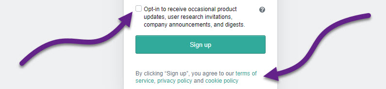 """Website login screen with a checkbox to opt into receiving occasional announcements, and notice that you are agreeing to website policies upon selecting """"Sign Up"""""""