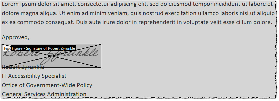 Positioned above the signature block, a hand-written (wet) signature of a scanned document (tagged as a figure) indicates PDF form's signature field.